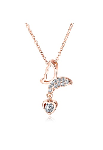 YOUNIQ YOUNIQ CALIE Butterfly 18K Rosegold Dangle Love Titanium Steel Necklace with White Cubic Zirconia Stone 9BD79ACF05CFDDGS_1
