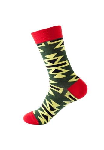 Kings Collection 綠色 幾何圖案舒適襪子 (均碼) HS202270 C6686AA2EBE817GS_1