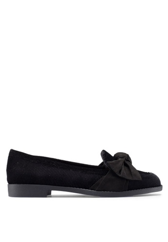 River Island black Irene Cord Bow Loafer Shoes DAC5CSHAB2F5C2GS_1