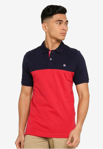 Springfield blue Organic Cotton Slim Fit Colour Block Polo 412A0AAABE02DDGS_1