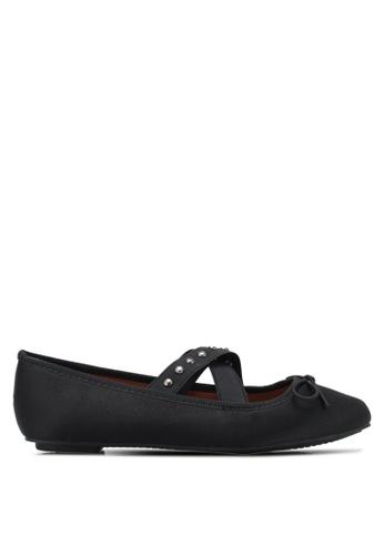 Something Borrowed black Studded Ballerina Flats E560DSH1E2FF0DGS_1