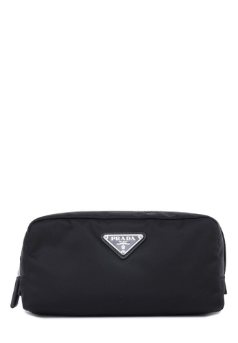 Prada black Re-Nylon and Saffiano Leather Toiletry Bag Pouch 6C41DACFFCA583GS_1