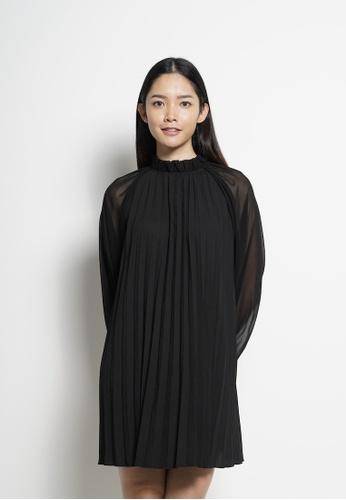 SUB black Women Long Sleeve Pleated Dress 772A9AA16C0A3AGS_1