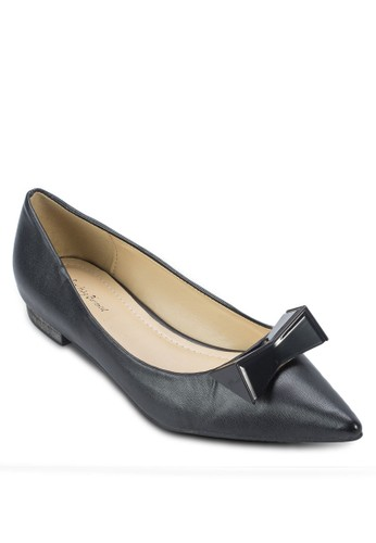 金屬蝴蝶結尖頭平底鞋, 女鞋,zalora 順豐 鞋