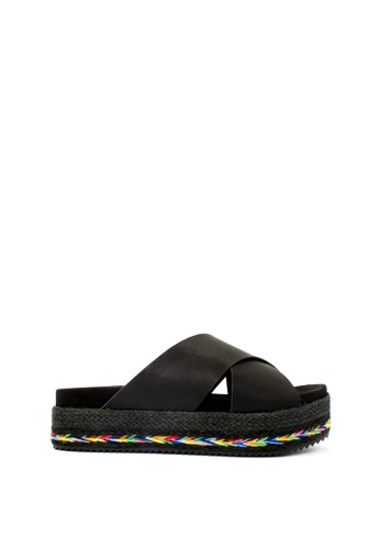 London Rag black Black Cross Strap Flatform Sandals 6B5F5SH5E8BBB0GS_1