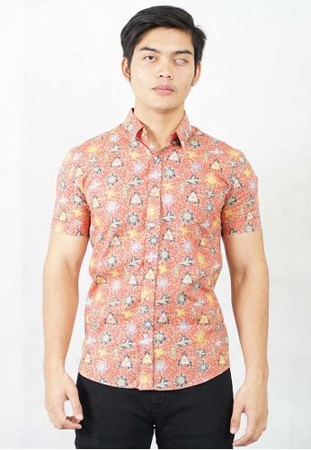 UA BOUTIQUE red Short Sleeve Shirt Batik UASSB104-051 (Red) 81700AA4893924GS_1