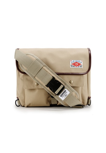 Peeps beige Retro Messenger Bag 36A9BAC2AFE545GS_1