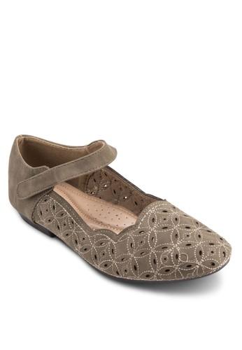 esprit hk分店繞踝帶印花平底鞋, 女鞋, 芭蕾平底鞋
