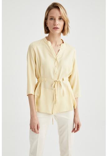 DeFacto yellow Woman Woven Long Sleeve Shirt 08FACAA8DAA132GS_1