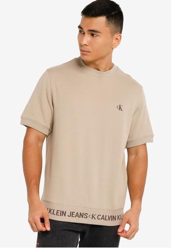 Calvin Klein beige Short Sleeve Monogram Sweatshirt - Calvin Klein Jeans E0F9BAA9059C12GS_1