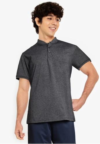 Fidelio black Mandarin Collar Basic Polo Shirt D0796AABD3A0E4GS_1