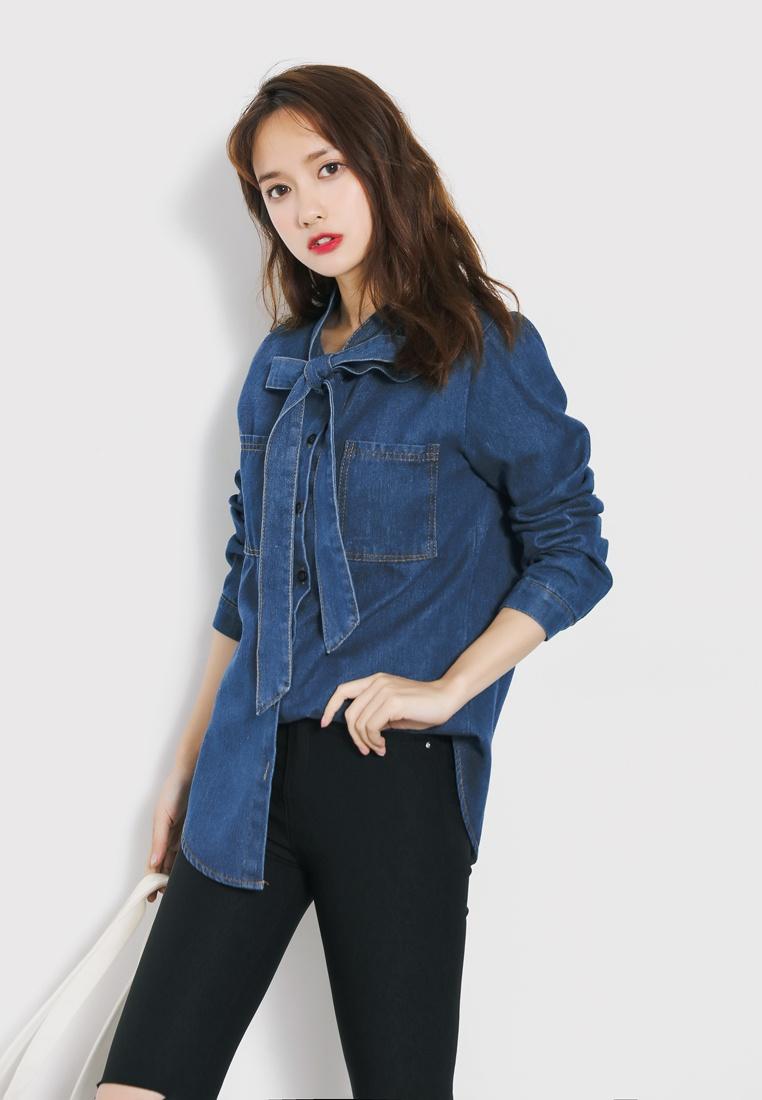 Bow Collared Shopsfashion Blue Shirt Light Denim q5z7d