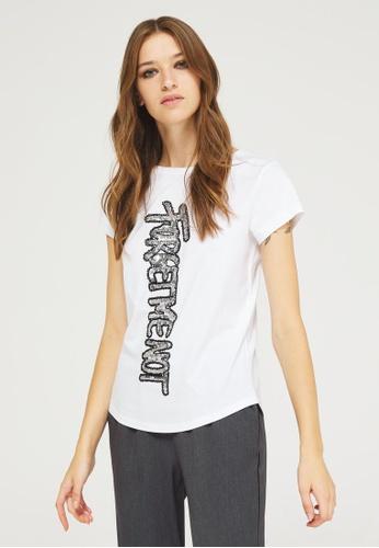 Sisley white T-shirt with sequins 82841AA2CDA692GS_1