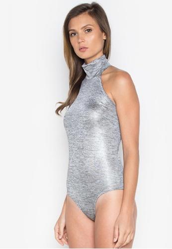 NOBASIC silver High Neck Knitted Bodysuit NO444AA0FQHTSG_1
