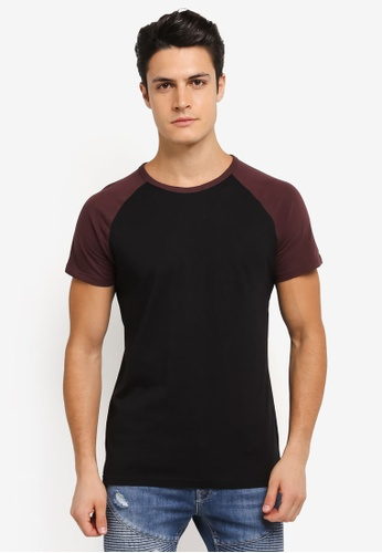 Burton Menswear London black Raglan T-Shirt BU964AA0SLFBMY_1