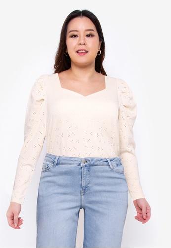Vero Moda beige Plus Size Willa 3/4 Blouse 4F562AAAA2ABF3GS_1