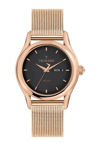 Trussardi gold T-Light Quartz Watch Rose Gold Metal Band Strap R2453127011 1478CAC409B2BDGS_1