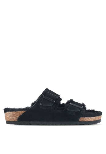 Birkenstock black Arizona Shearling Sandals 3424ESHD643E21GS_1