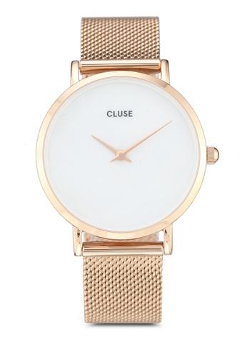 CLUSE gold Minuit La Perle Mesh Rose Gold/White Pearl 8AAF4AC66E6E04GS_1