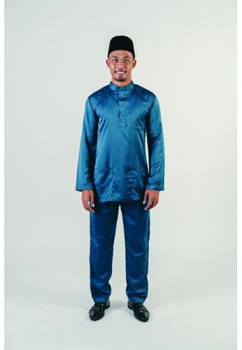 Khalifah by N green and multi Baju Melayu Cekak Musang 2.1 Slim Pine 35BBDAA304BDE0GS_1