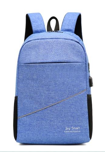 Jackbox blue Korean Fashion Joy Start Ipad Laptop Bag with USB Charging Port Backpack 541 (Blue) 6BACEACEDD4756GS_1