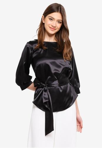CLOSET 黑色 袖綁帶上衣 44099AA72CE820GS_1