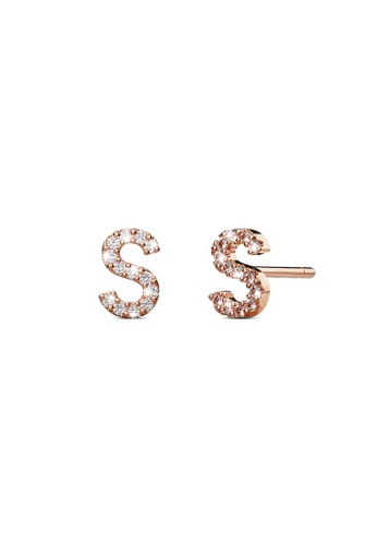 925 Signature silver 925 SIGNATURE Solid 925 Sterling Silver Glamour Alphabet Letter Earrings Rose Gold - S 12077ACB725126GS_1