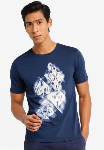 UniqTee navy Crew Neck Graphic T-Shirt 0F696AA51FA108GS_1