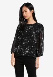 WAREHOUSE black Sparkle Star Top WA653AA0SBZWMY_1