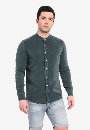 UniqTee green Mandarin Collar Long Sleeve Shirt D9E76AAACEA81AGS_1