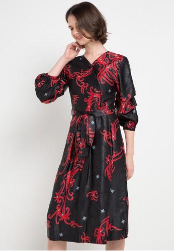 Anakara black and multi Puffy Dress Akamera BBFB3AA313C31BGS_1