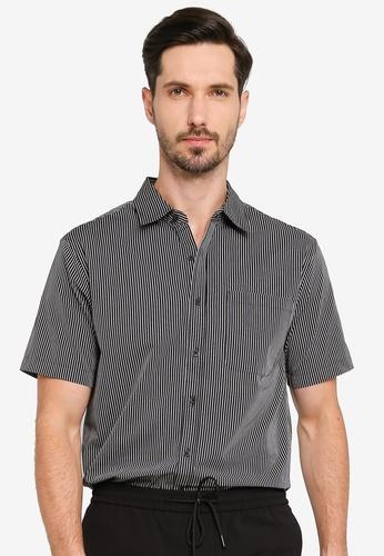 URBAN REVIVO grey Temperament Striped Shirt 98C8FAA4414BD2GS_1