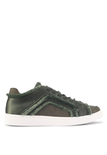 ZALORA green Raw Edge Frills Lace-Up Sneakers BFFEASH68EAFC9GS_1