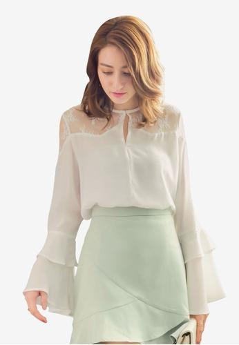 YOCO white Layered Ruffle Sleeve Blouse 64BEFAA53D0811GS_1