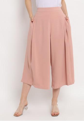 INSTYLE BY SURI pink Aika Kulot Pants in Peach B1B88AA65E7EE5GS_1