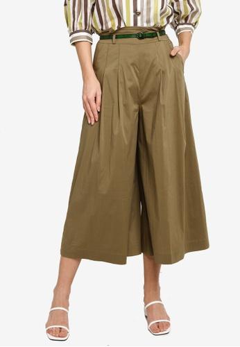 Hopeshow green Paperbag Waist Flare Cuff Capri Pants C3E8AAA7DD1DECGS_1