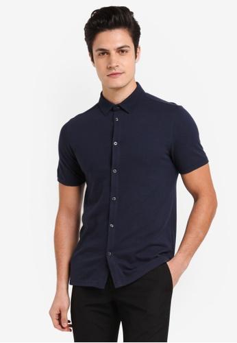 Burton Menswear London navy Navy Short Sleeve Pique Shirt C7AA4AAC06E230GS_1