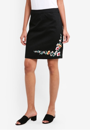 Dorothy Perkins black Black Embroidered Mini Skirt D6F57AA0DA8159GS_1