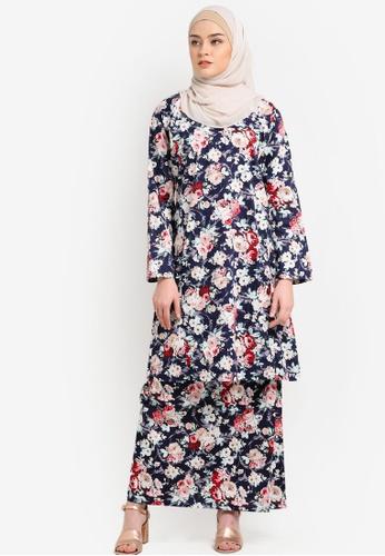 Azka Collection black and multi English Cotton Baju Kurung AZ019AA0RTSNMY_1