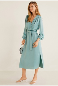 b79507eb8acd8e Mango Satin Tie Dress S$ 139.00. Sizes S M L XL