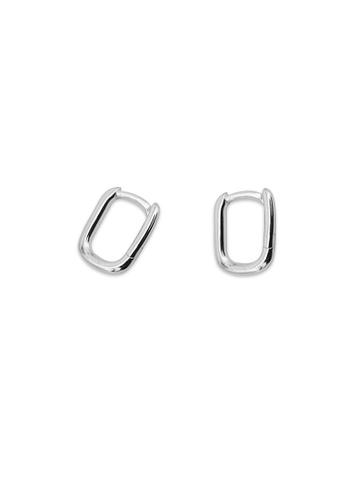 Silverworks silver Rectangular Huggie Hoop Earrings DFA42AC8C492AFGS_1