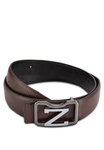 Z Alphabet Brown Leather Belt, 飾品配件, esprit 童裝飾品配件