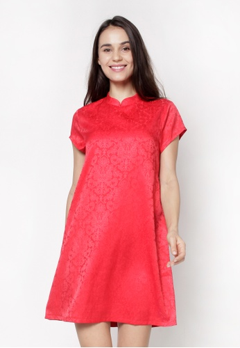 nicole red Mandarin Collar Short Sleeve A-Line Dress 1DB91AA9AC66B8GS_1