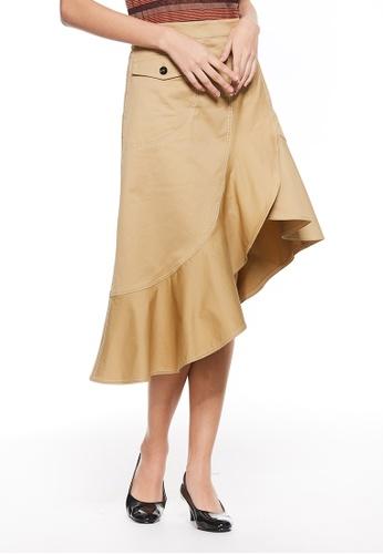 Sisley green Asymmetrical skirt 50DD1AAF3173CDGS_1