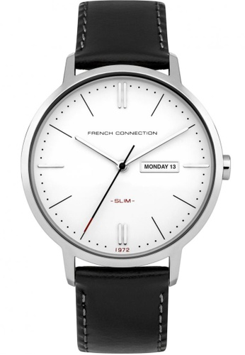 French Connection black and silver French Connection SLIM Silver/Black Watch FR853AC72CZZSG_1