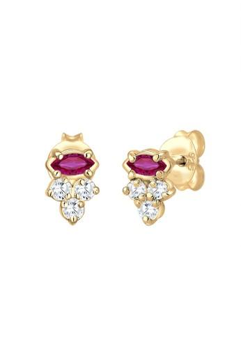 Elli Germany gold Perhiasan Wanita Perak Asli - Silver Anting Stud Zirconia Ruby Lapis Emas C56F9AC244FAA6GS_1