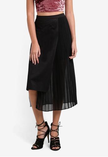 Something Borrowed black Asymmetric Hem Midi Skirt 6F168AAF760DBAGS_1