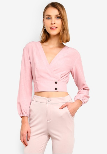 ZALORA 粉紅色 氣球袖上衣 1D14EAA36785E8GS_1