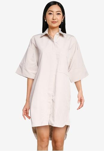 The Duo beige Structural Shirt Dress 6F67BAAA4E2BEEGS_1
