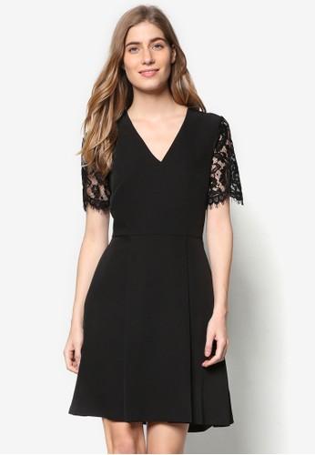 透膚蕾絲短袖V 領洋裝, 服飾, 洋esprit分店裝
